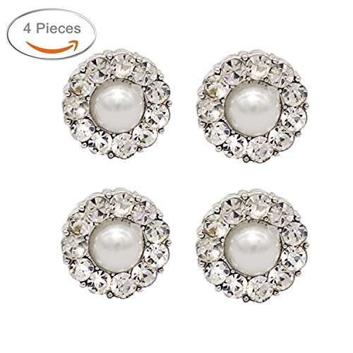 SHINYTIME Crystal Rhinestone Buttons 4 Pieces Sew-On Single Plastic Pearl Circular Buttons with Shank for Bridal Clothing Decoration and DIY Crafts 0.5 inches