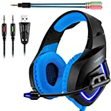 ONIKUMA K1 Gaming Headset, 3.5mm PC Stereo Gaming Headset for PS4 / Xbox One S, Bass Headphones with Soft Tube Microphone Volume Control, Noise isolation for PC Mac Laptops Computers (Blue) Review