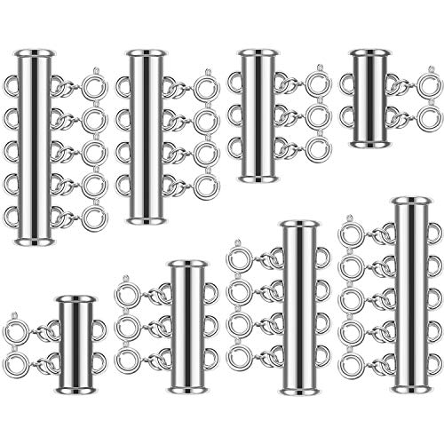 8 Set 4 Sizes Slide Tube Lock Necklace Spacer Clasp Multi Strands Magnetic Tube Lock Necklaces Bracelet Connectors for Jewelry, 64 Pieces (Silver)