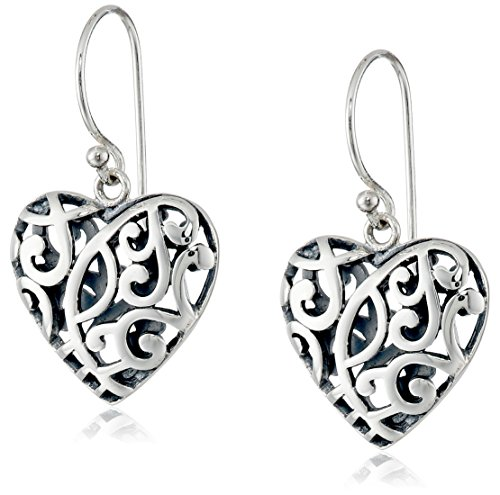 Sterling Silver Filigree Heart Drop Earrings ()