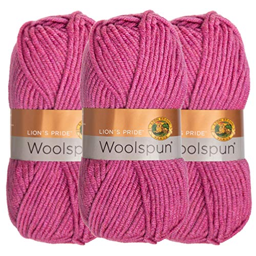 (Lion Brand (3 Pack) Woolspun Acrylic & Wool Soft Orchid Pink Yarn for Knitting Crocheting Bulky #5)