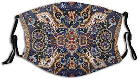ALLMILL Paisley Marokkanische Blümchen Slawische Effekte Heritage Design Dekoratives Karamellviolett Blau Dunkel Lavendel Dunkel Indigo Staubwaschbarer Filter und