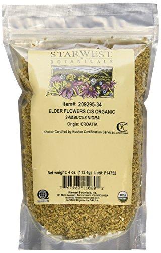 (Elder Flowers Cut & Sifted Organic - 4 Oz,(Starwest Botanicals))