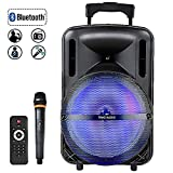 """12"""" Tailgate Bluetooth Portable 60W, Peak 400W PA System/Speaker with MP3/USB/TF/FM Radio/KARAOKE function, LED Party Light,wireless Microphone, remote control, rechargeable battery, and wheels& Hole designed for speaker stand"""