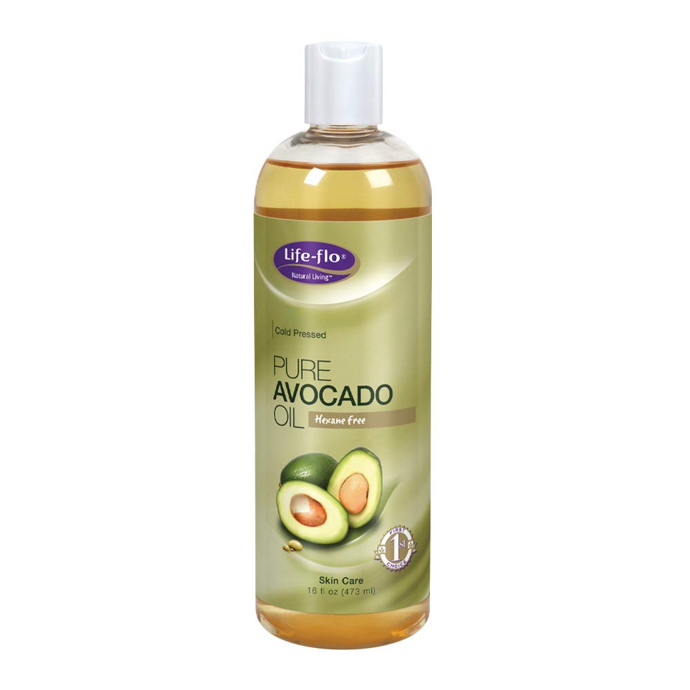 Life-flo Pure Avocado Oil Cold-Pressed Rich Moisturizer for Dry Skin, Hair and Scalp Food Grade, Hexane Free, 16oz