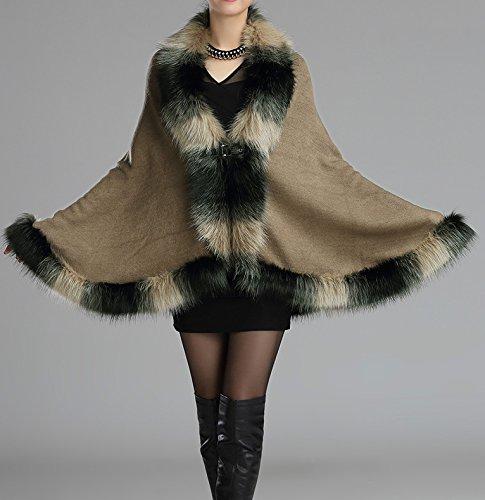 Luxe En Chaud Fourrure Kaki Femmes Style Cape Helan Cap Fausse Manteau wqTA7nRS