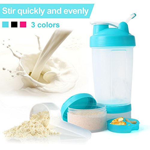 Sport Protein Powder Shaker Bottle, 3-in-1 Free Combination Milkshake Bottle, One Mixer Ball, Two Storage Boxes, Loop Top Design, 17 OZ/500ml, Half Blue, By (Two Ball Box)