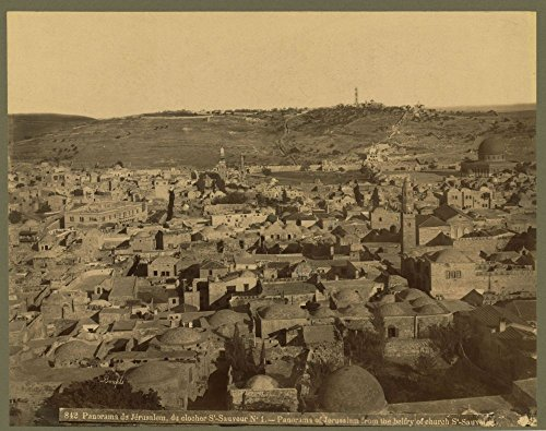 Historic Photos 1867 Photo Panorama de Jérusalem, du clocher S'-Sauveur Np0s 1 Panorama of Jerusalem from the belfry of church S'-Sauver//Bonfils. Location: Jerusalem