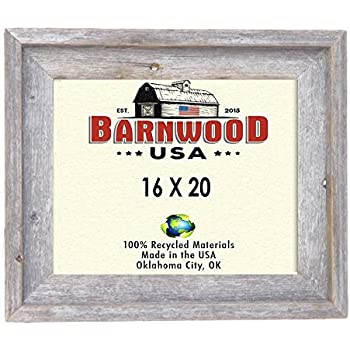 barnwoodusa rustic 16x20 inch signature picture frame 100 reclaimed wood weathered gray