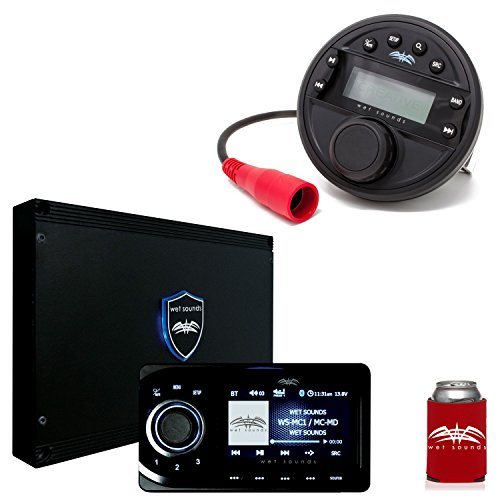 Wet Sounds WS-MC1 & Transom Remote Bundle: Marine Media System with Full-Color LCD Display, Bluetooth, Wired Remote - Marine Lcd Remote
