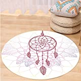 VROSELV Custom carpetHippie Ethnic Style Dream Catcher Concept Artwork Indian Spiritual Vintage for Bedroom Living Room Dorm Hot Pink Lilac Light Yellow Round 72 inches
