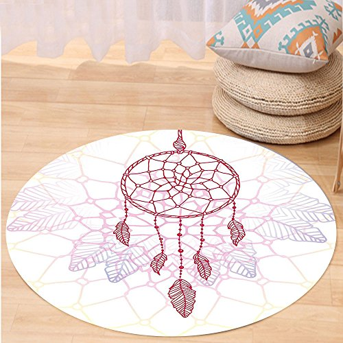 VROSELV Custom carpetHippie Ethnic Style Dream Catcher Concept Artwork Indian Spiritual Vintage for Bedroom Living Room Dorm Hot Pink Lilac Light Yellow Round 72 inches by VROSELV