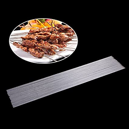 Shoresu 50Pieces Stainless Steel Barbecue BBQ Skewers Needle Kebab Kabob Sticks Outdoor Silver 2mm