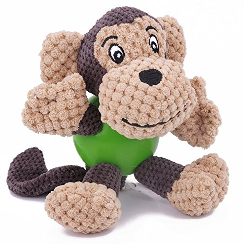 EETOYS Interactive Squeaky Plush Toy, Low Stuffing Rubber Ball Durable Animal Toy for Small Medium Dogs
