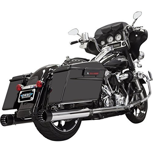 Bassani Xhaust 06-16 Harley FLHX2 DNT Straight Can Slip-On Exhaust (Chrome with Black Outer/Inner End Caps)