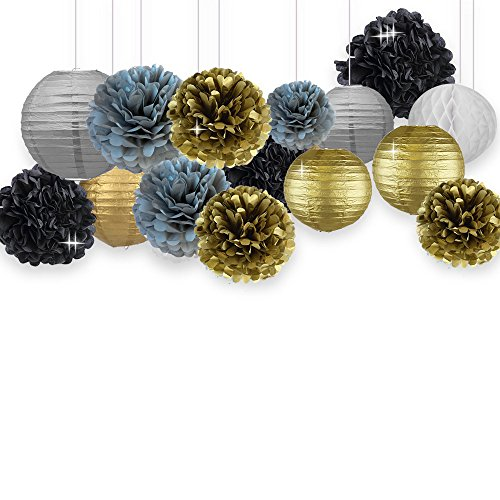 New Years Decorations Gold Black Party Decor Kit Tissue Paper Pom Poms Flower Paper Lantern Paper Honeycomb Balls Party Hanging Decoration Favor for Birthday Decoration Black Gold Themed Decor