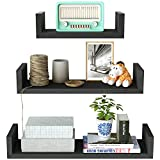 SRIWATANA Floating  Shelves Wall Mounted, Solid Wood Wall Shelves Set of 3(Vintage Black)