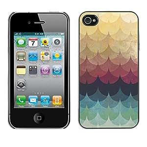 X-ray Impreso colorido protector duro espalda Funda piel de Shell para Apple iPhone 4 / iPhone 4S / 4S - Feather Rainbow Colors Pastel