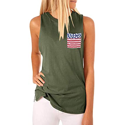 69990a1e Amazon.com: Toponly Women's High Neck Tank Tops Patriotic Sleeveless Blouse  T Shirts Cami Tops With American Flag Printed Pocket: Appliances