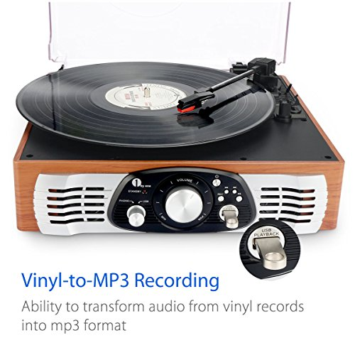 1byone-Belt-Drive-3-Speed-Stereo-Turntable-with-Built-in-Speakers-Supports-Vinyl-to-MP3-Recording-USB-MP3-Playback-and-RCA-Output-Natural-Wood