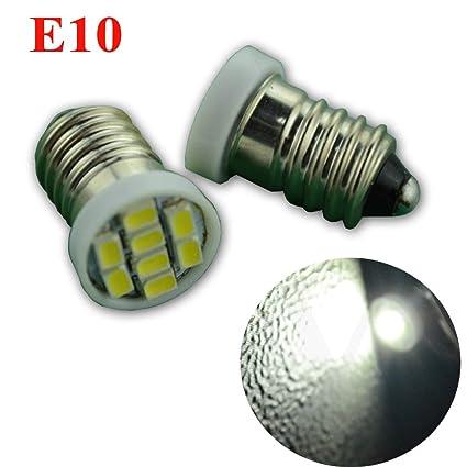 Ruiandsion E10 DC 12V Blanco 1206 8SMD Bombilla LED para linterna frontal, Tierra Negativa (