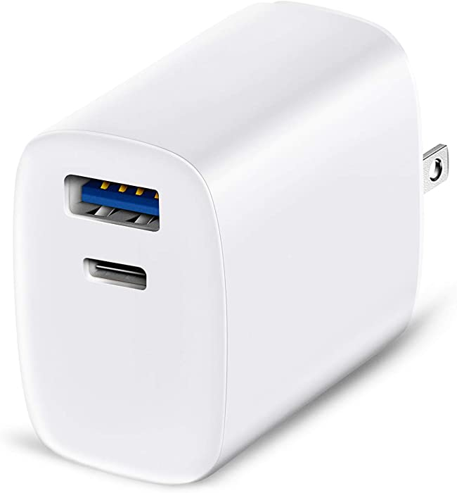 iPhone USB C Wall Charger, 2 Port Fast Charger with 18W Power Adapter PD Charger, Foldable Charger Block Compatible with iPhone 12/SE/11/X/8, iPad Pro, Google Pixel, Samsung Galaxy S20 S10, White