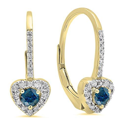 Dazzlingrock Collection 14K 3 MM Each Round Blue Diamond & White Diamond Ladies Heart Shape Drop Earrings, Yellow Gold ()
