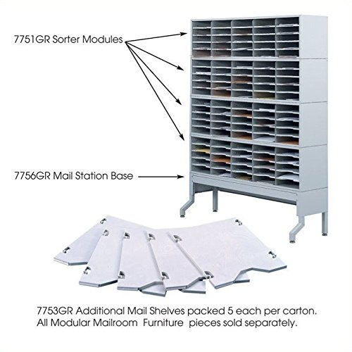 Safco Products 7753GR E-Z Sort Mail Station Additional Mail Trays for use with Sorter Module, sold separately, Gray