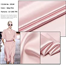 100% 16mm Baby Pink Silk Charmeuse Fabric By the Yard, 48 Colors, Baby Pink SZD1614 , F.D.SILK