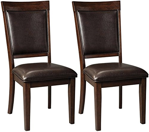 Ashley Furniture Signature Design – Shadyn Dining Side Chair – Set of 2 – Casual – Brown Upholstered Back/Seat – Brown Finish For Sale