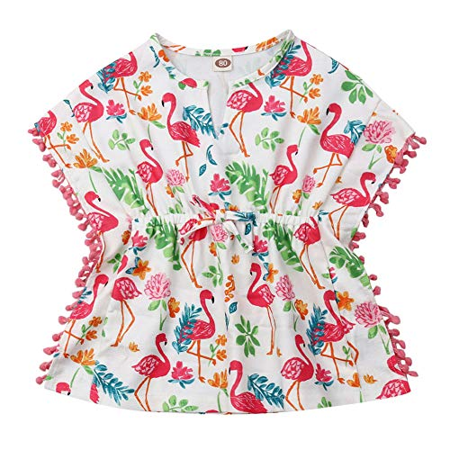 Little Girls Linen Cactus Flamingo Cover-up Beach Swimsuit