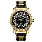 JBW Men's JB-6225-J ''562'' Pave Dial Diamond Black Rubber Band Watch