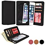 Cooper Cases(TM) Infinite Wallet Huawei Ascend G7/G730/GX1/Mate2 4G/Mate 7 Smartphone Case in Black (PU Canvas Cover, Built-in Screen Protector, Card Slots, ID Holder, Billfold)