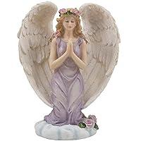 Ángel arrodillado en una figura de oración en una nube celestial con acentos de rosas para esculturas o estatuas de decoración espiritual, religiosa y cristiana como regalos artísticos inspirados