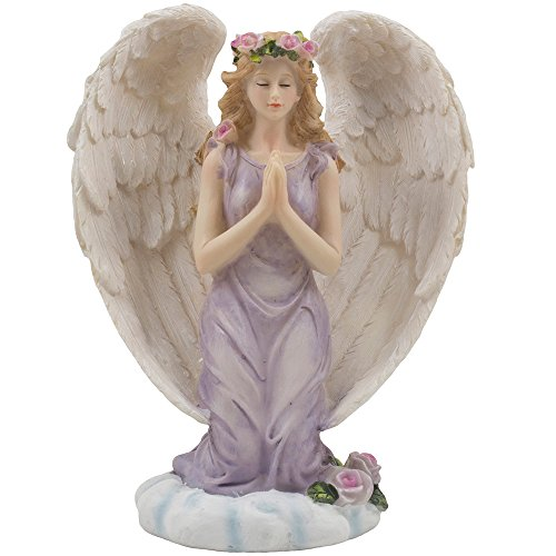 Kneeling Angel in Prayer Figurine on a Heavenly Cloud with Accents of Roses for Spiritual, Religious and Christian Home Decor Sculptures or Statues As Artistic Inspirational Gifts