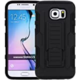 Black Generic Rugged Impact Armor High Impact Hybrid Hard/Soft Protective Case Cover with Stand Holster Robot...