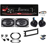 JVC CD Receiver+8 Rollbar Speakers+(2) 4x6 For 1997-2002 Jeep Wrangler