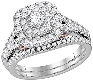 14kt White Gold Womens Round Diamond Double Square Halo Bridal Wedding Engagement Ring Band Set 1.00 Cttw