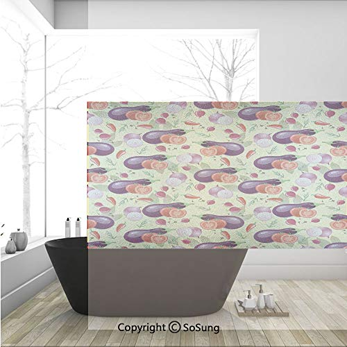 3D Decorative Privacy Window Films,Eggplant Tomato Relish Onion Going Green Eating Organic Tasty Preserve Nature Decorative,No-Glue Self Static Cling Glass film for Home Bedroom Bathroom Kitchen Offic