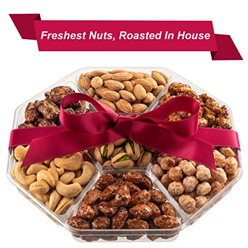 Holiday Nuts Gift Basket | Fresh Sweet & Salty Dry Roasted Gourmet Nuts | Fantastic Food Gift Basket for Christmas, Thanksgiving, Holiday, Sympathy, Family, Men & Women | Prime Delivery