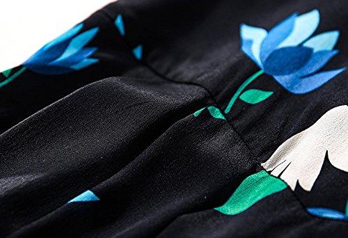 Di Partito Yyd V Collare Donne Sottile Seta Rappezzatura Dell'abbigliamento Del Noir Dell'annata Stampato Da Casuale Dell'oscillazione Delle Vestito rrq6EwzH
