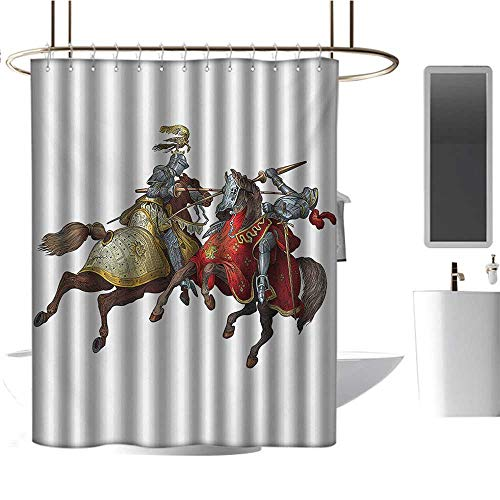 Renaissance Costumes Los Angeles (Qenuan Hotel Grade Shower Curtain Medieval,Middle Age Fighters Knights with Ancient Costume Renaissance Period Illustration,Multicolor,3D Effect Bathroom Curtain)