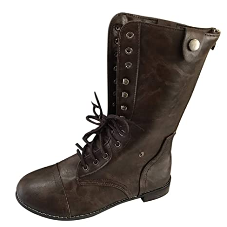 Logobeing Zapatos de Mujer Denim Botas Altas de Vaquero Romano de Mujer Botas Largas Militar Tacones