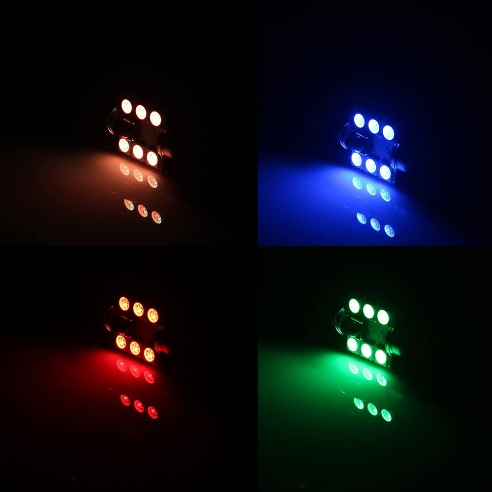 flash estrobosc/ópico RGB 5050 6S MD Luz LED para techo de coche para leer mando a distancia 36 mm de Shinfok 2 unidades de 31 mm para interior de coche 39 mm 41 mm 24 teclas