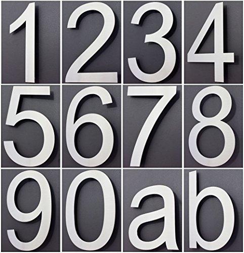 Hausnummer Edelstahl Design Arial ALLE ZAHLEN in 2D / 3D Höhe 20cm V2Aox, Ziffer:1;Stil:2D