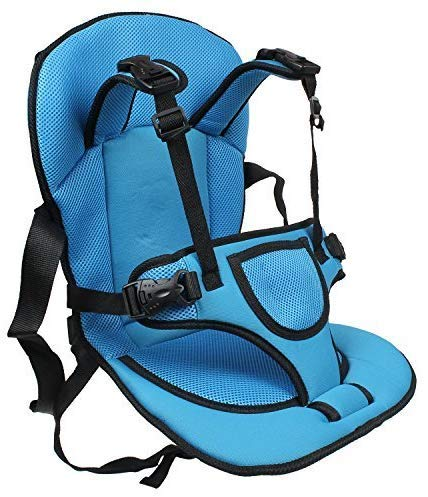 Zoomanu Multi-Functional Baby Car Seat Cushion with Safety Belt | for Infants & Kids, 0.6 to 4 Years (Blue)