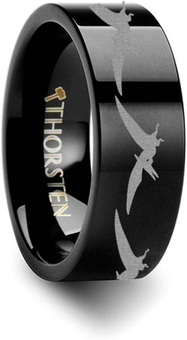 Thorsten Dinosaur Ring Stegasaurus Prehistoric Paleo Flat Black Tungsten Ring 4mm Wide Wedding Band from Roy Rose Jewelry