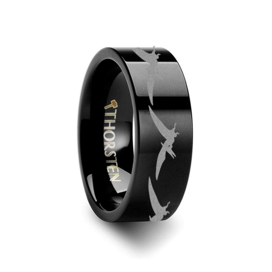 Thorsten Dinosaur Ring Teradactyl Prehistoric Paleo Flat Black Tungsten Ring 8mm Wide Wedding Band from Roy Rose Jewelry