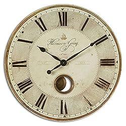 Uttermost Harrison Gray 30-Inch Wall Clock