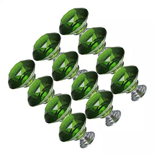 CSKB 12 PCS verde 30mm Cortar la puerta de cristal de diamante de cristal perilla del cajón del gabinete muebles Mango...